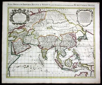 ca. 1730 Asia continent Japan China Indonesia India map Karte Covens Mortier