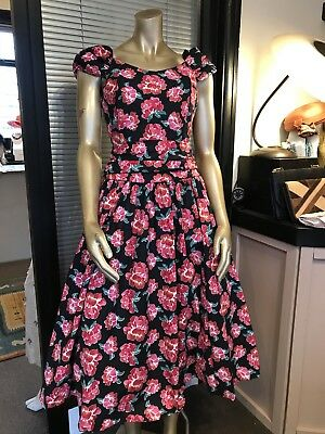 Stunning True Vintage 1980's Laura Ashley Rose Print Cotton Dress - Size 10