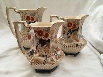 Set of 3 Rare Antique 19th Centuary Victorian Staffordshire Jugs - Marked