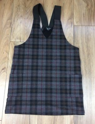 NEW LOOK 915 Generation Pinafore Brown Check Girls Dress Age 10 Pockets Elastic