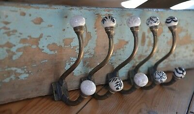 Shabby Chic Antique Iron Hooks with Ceramic Knobs | Metal & Porcelain Coat Hooks