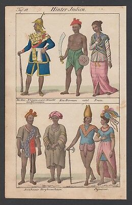 1830 Indien India Birma Bago Pegu Trachten costumes Lithographie lithograph