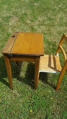 Antique Solid Oak Childs Primary School Desk And Beech Chair Lift Top Inkwell