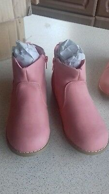 girls infant new faux suede pink ankle boots sizes