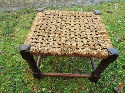 Antique English Bobbin Turned Oak Woven String Foot Stool Solid & Sturdy