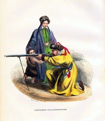 1845 - Türkei Turkey Trachten Holzstich costumes antique print