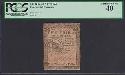 Continental Fractional Colonial Currency CC-22 ** PCGS XF40 ** $2/3 Feb 17, 1776