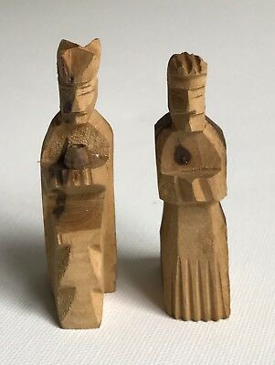 Vintage Lot Of 2 Hand Carved wooden King and Queen Figures Israeli Design