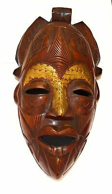 """19"""" Large African Wood Mask: Brown"""