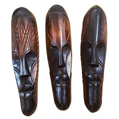 """12"""" - 13"""" African Gabon Cameroon Wood Fang Mask: Brown and Black"""