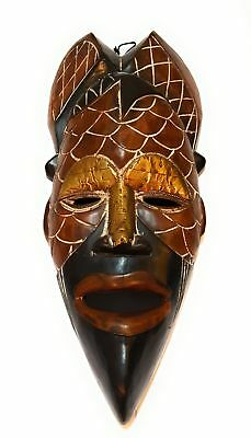 """18"""" African Wood Mask: Brown and Black"""