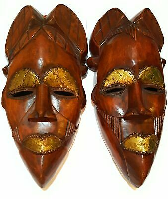 """16"""" African Wood Mask: Brown"""