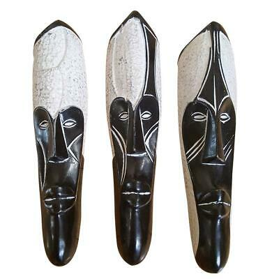 """25"""" African Cameroon Wood Fang Mask: Black and White"""