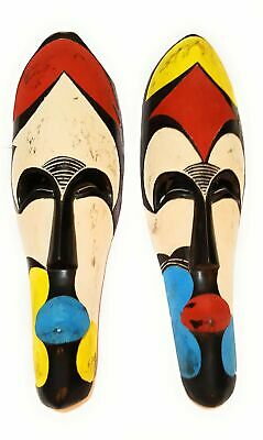 """18"""" African Cameroon Wood Fang Mask: Multicolor"""
