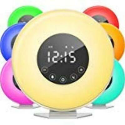 SALE Wake Up Light Sunrise Sunlight Alarm Clock with 6 Natural Sounds & FM Radio