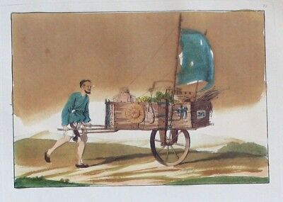1825 - China Laufwagen Original Aquatinta aquatint antique print