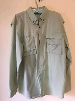 Rugged Earth Outers Mens Long Sleeve Vented Fishing Shirt L Light Green 0159