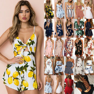 Boho Womens Holiday Floral Mini Jumpsuit Ladies Summer Playsuit Dress Size 6-16