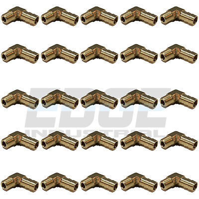 (25 Pieces) 3/8 HOSE BARB ELBOW X 1/8 MALE NPT Brass Pipe Fitting Gas Fuel Water