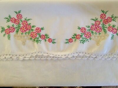 Vintage Embroidered Pink Flowers Pillow Case White Crocheted Trim