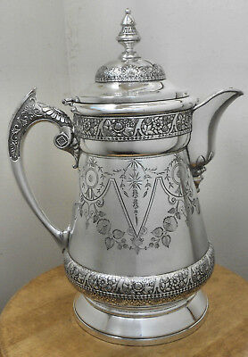 GORGEOUS!! Atq c1890's WILCOX SILVER PLATE CO #346 Victorian Deco Water Pitcher