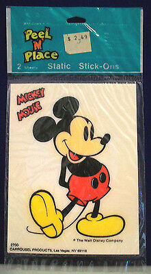 Mickey & Minnie Mouse Peel N' Place Static Stick-Ons Carrousel #2700 Vtg Disney