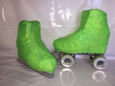 Green on Green sparkles Boot Covers for RollerSkates and Ice Skates  S,M