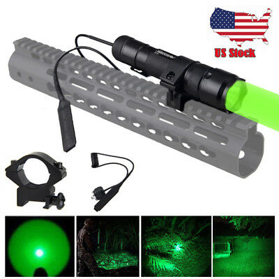 Tactical LED Flashlight with Rail Mount 5000lm Green Red Hunting Torch Gun Light