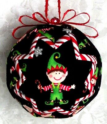 Elf Santa's Helper Of Toys & Gifts Family & Friends Quilted Ball Ornament Newb34