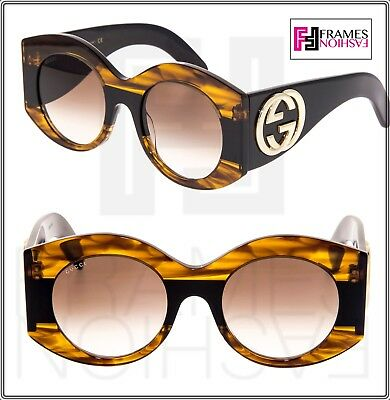 GUCCI GG0177S Black Brown Havana URBAN WEB BLOCK DIVA Oversized Sunglasses 0177