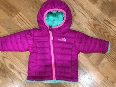 EUC The North Face Girls Insulated Reversible Jacket Size 0-3 Months