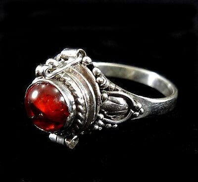 Handmade Solid 925 Sterling Silver Bali Baltic Amber Cab Poison Pill Box Ring