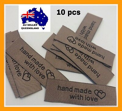 WOVEN LABELS 10pcs, Clothing Label, DIY Label, Brown Handmade With love Hearts