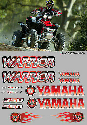 Warrior Decals RED Full Color Stickers Graphics 14pc ATV QUAD, 350, 6 speed