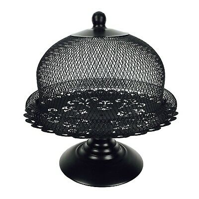 Black Cake Stand and Dome Lid Metal Cake Plate Display Holder for Tea Shop Room