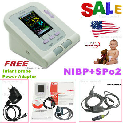 Neonate/Infant Upper Arm NIBP Digital Blood Pressure Monitor+SpO2 Oximeter.NEW