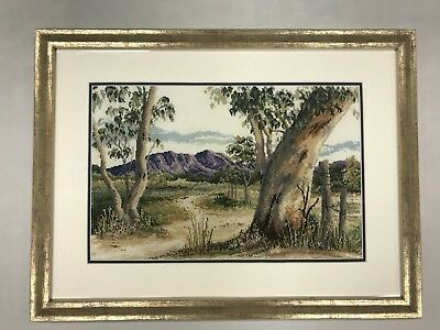 "Vintage Tapestry Depicting A Bush Scene ""Old Gumtree Viewing The Mountain Range"""