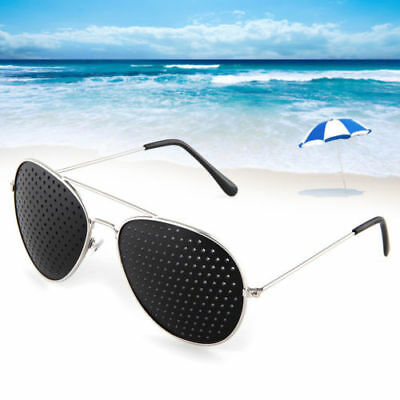 Eye Exercise Pinhole Glasses Eyewear Eyesight Improve Care Metal Sunglasses