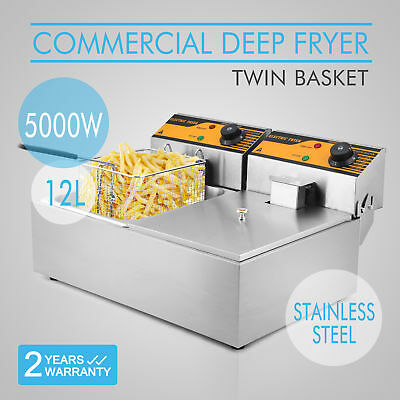 NEW Commercial 12L Deep Fryer Electric - Double Basket - Benchtop - Stainless