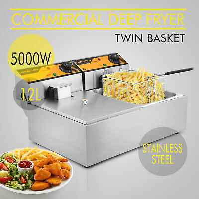 NEW Commercial Electric Deep Fryer Frying Basket Chip Cooker Fry Twin