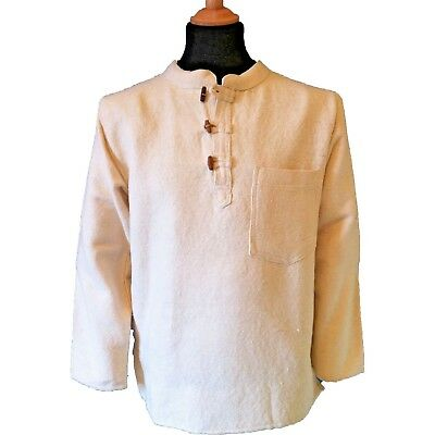 Thick Cotton Hippy Long Sleeved Toggle Grandad / Ghillie Shirt in Cream