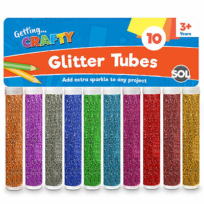 Glitter Tubes x 10 Art & Crafts, Kids Card Making, Scrapbook, Sparkle Pots