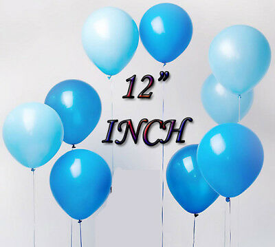"12"" Baby Blue & Blue Color Party Theme Decor Latex Bridal & Baby Shower Balloon"