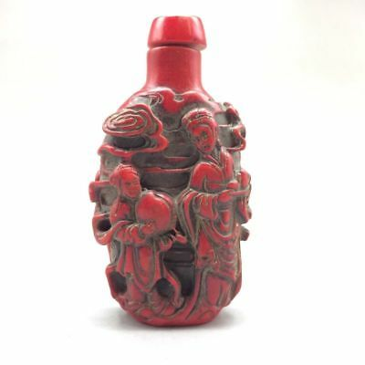 The ancient red coral artificial carving fairy snuff bottles