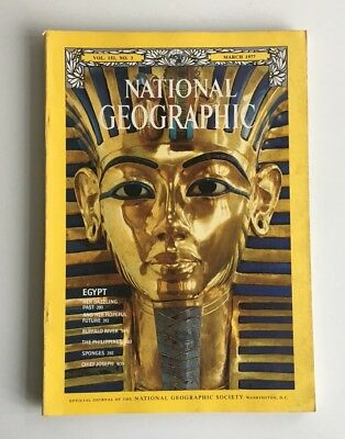 Vintage 1970s National Geographic Magazine Egypt Tutankhamun Buffalo