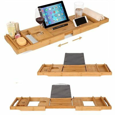 AU Bamboo Bath Soap Shelf 2×Towel Box Ajustable Tray Wooden Book Table New Rest