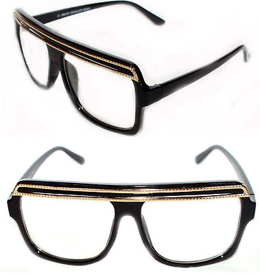 39d3e1a585d Flat Top SUNGLASSES HIP HOP VINTAGE BLACK GOLD TOP GRANDMASTER STYLE RETRO  LARGE