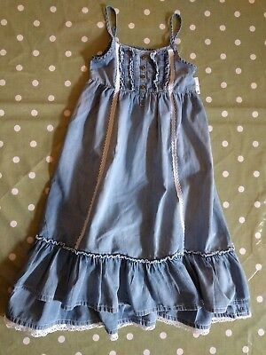Next Girls Blue Chambray Maxi Dress 6 Years 116cm Brand New With Tags!