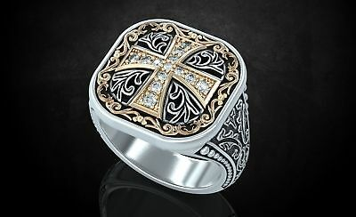 Ring with Patterns and Cross Ancient Stylish Mens Ring in Oxidized 925 Silver