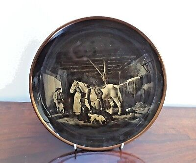 Ridgway Sepia Style R.A Ware Plate - The Reckoning George Morland c1800